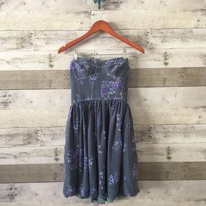 Rebecca Taylor Strapless Silk Dress Floral Print